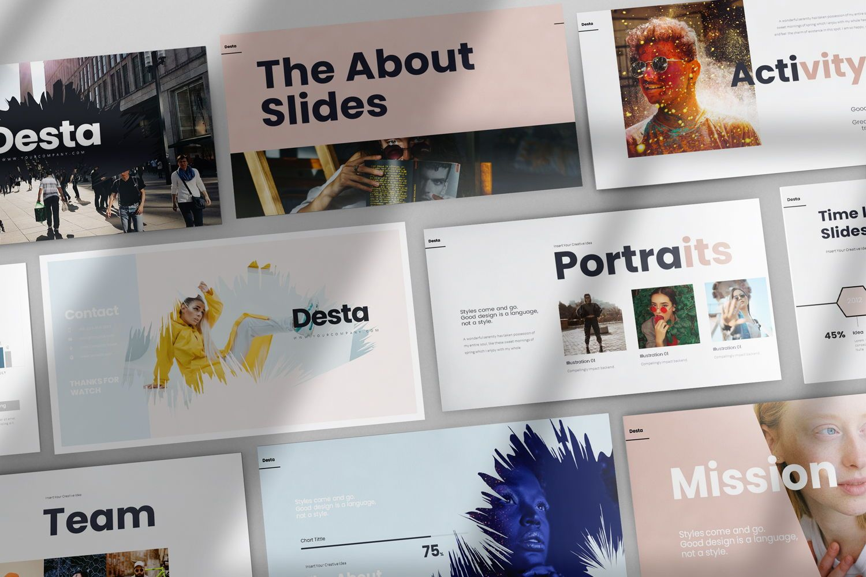 Desta Google Slide Templates, 08200, Icons — PoweredTemplate.com