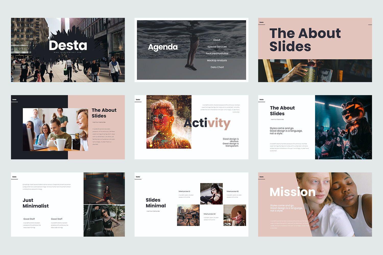 Desta Google Slide Templates, Slide 2, 08200, Icons — PoweredTemplate.com