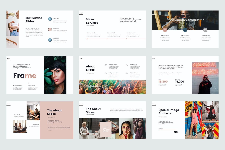 Desta Google Slide Templates, Slide 3, 08200, Icons — PoweredTemplate.com