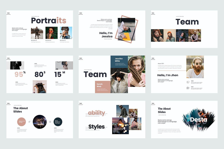 Desta Google Slide Templates, Slide 4, 08200, Icons — PoweredTemplate.com
