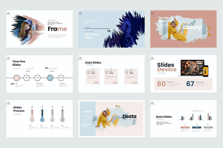 Desta Google Slide Templates, Slide 5, 08200, Icons — PoweredTemplate.com