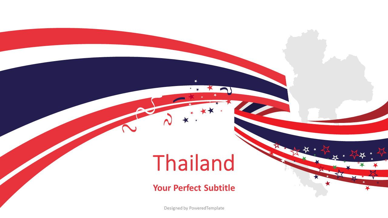 Thailand Festive State Flag, 08202, Presentation Templates — PoweredTemplate.com
