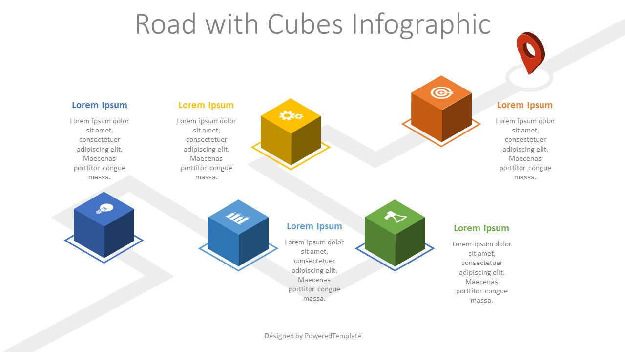 Roadmap with Cubes Infographic, 08205, Stage Diagrams — PoweredTemplate.com