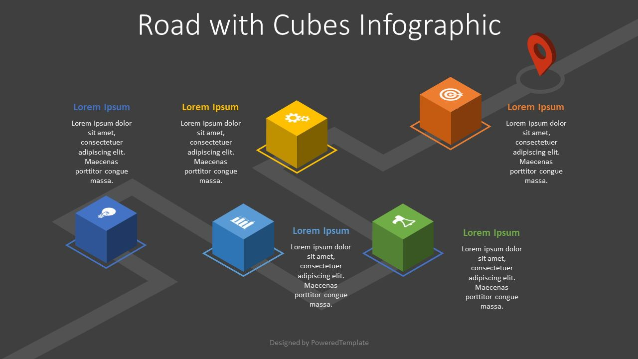 Roadmap with Cubes Infographic, Slide 2, 08205, Stage Diagrams — PoweredTemplate.com