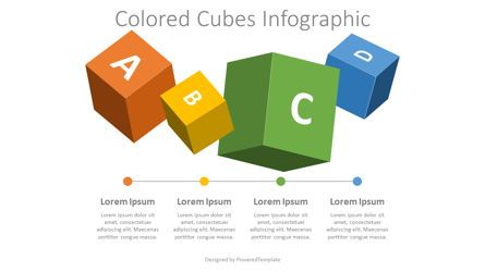 Education Charts and Diagrams: 4 Colored Cubes Infographic #08213
