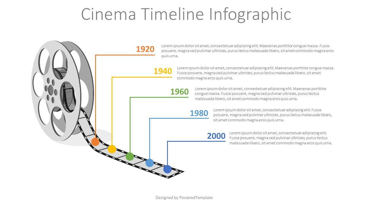 Cinema Reel Timeline Infographic, 08217, Infographics — PoweredTemplate.com