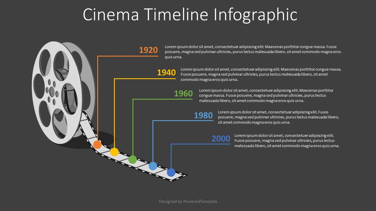 Cinema Reel Timeline Infographic, Slide 2, 08217, Infographics — PoweredTemplate.com