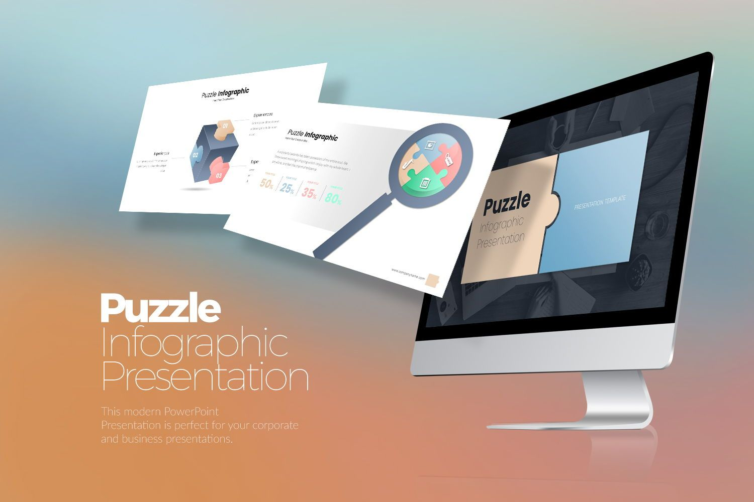 Puzzle Infographic Keynote Templates, 08220, Icons — PoweredTemplate.com