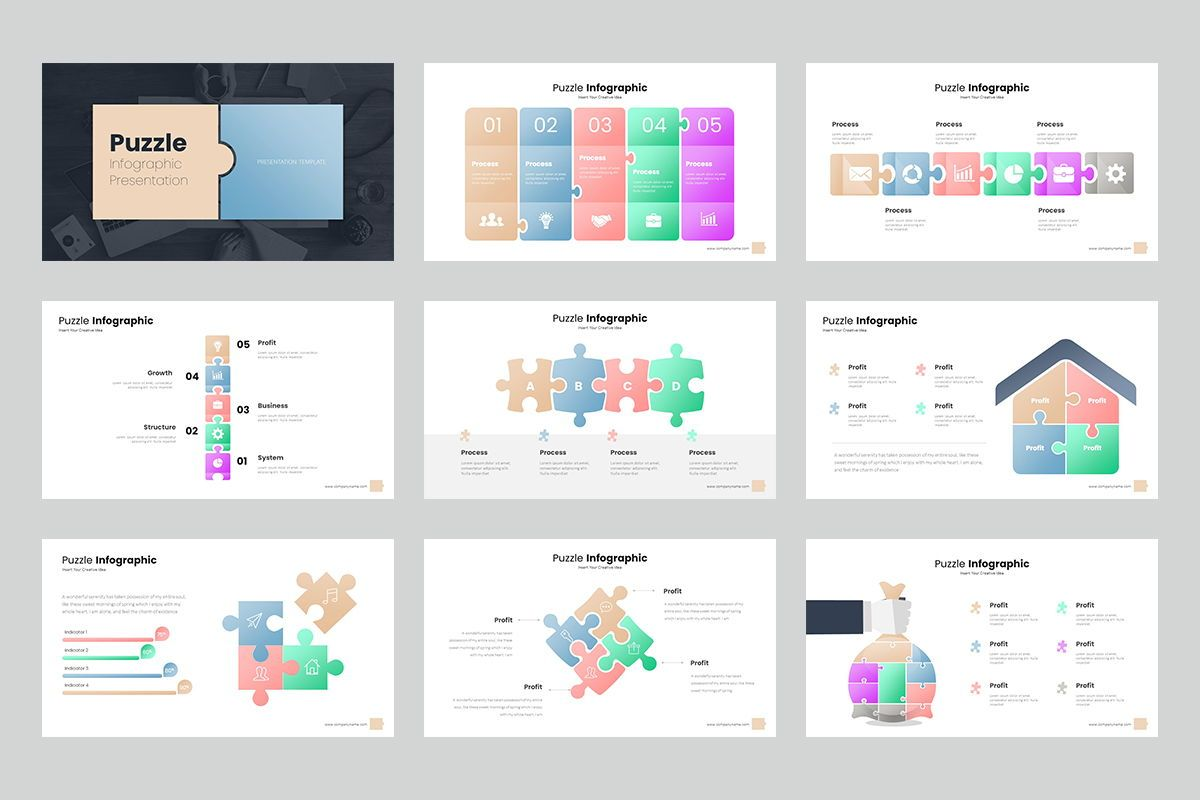 Puzzle Infographic Keynote Templates, Slide 2, 08220, Icons — PoweredTemplate.com