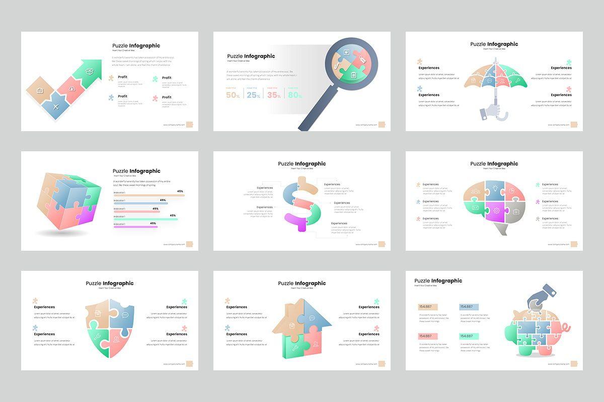 Puzzle Infographic Keynote Templates, Slide 3, 08220, Icons — PoweredTemplate.com
