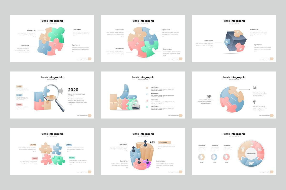 Puzzle Infographic Keynote Templates, Slide 4, 08220, Icons — PoweredTemplate.com