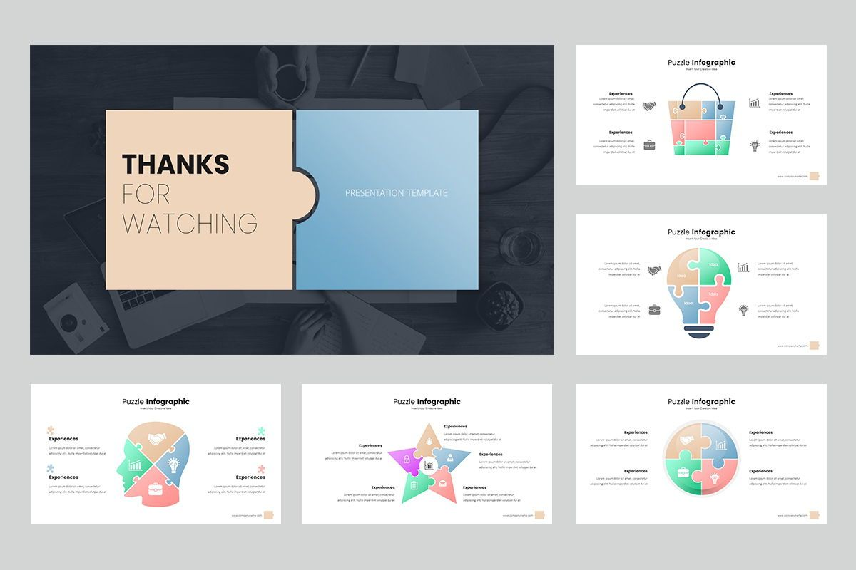 Puzzle Infographic Keynote Templates, Slide 5, 08220, Icons — PoweredTemplate.com