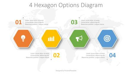 Infographics: 4 Hexagon Options Diagram #08221