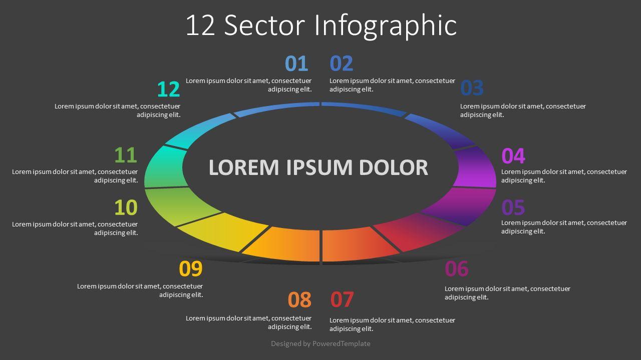 12 Sector Infographic, 08229, Pie Charts — PoweredTemplate.com