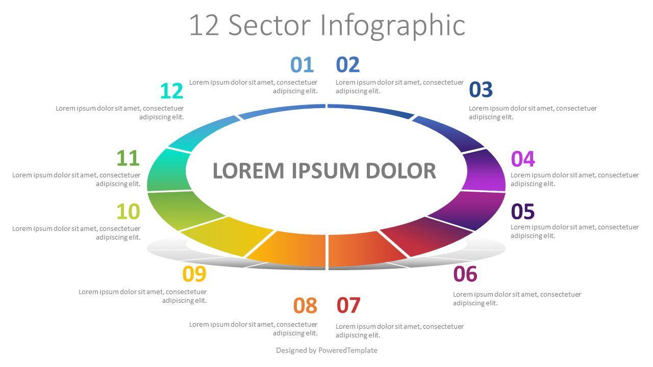 12 Sector Infographic, Slide 2, 08229, Pie Charts — PoweredTemplate.com