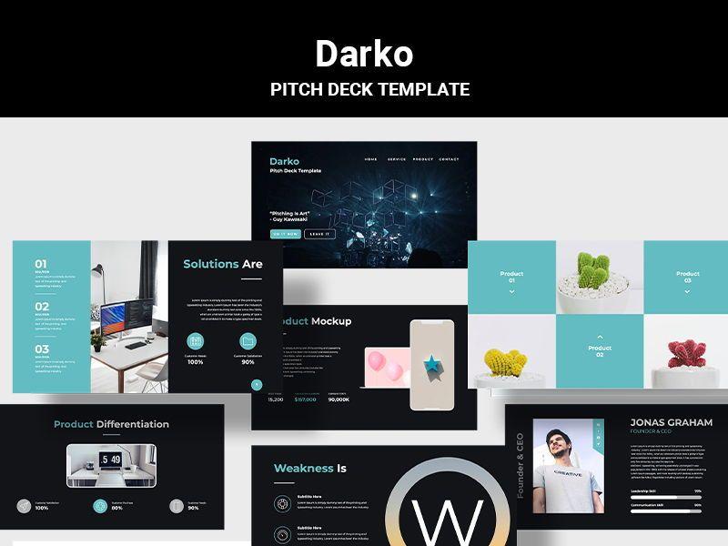 Darko Pitch Deck Template KEY, 08233, Presentation Templates — PoweredTemplate.com