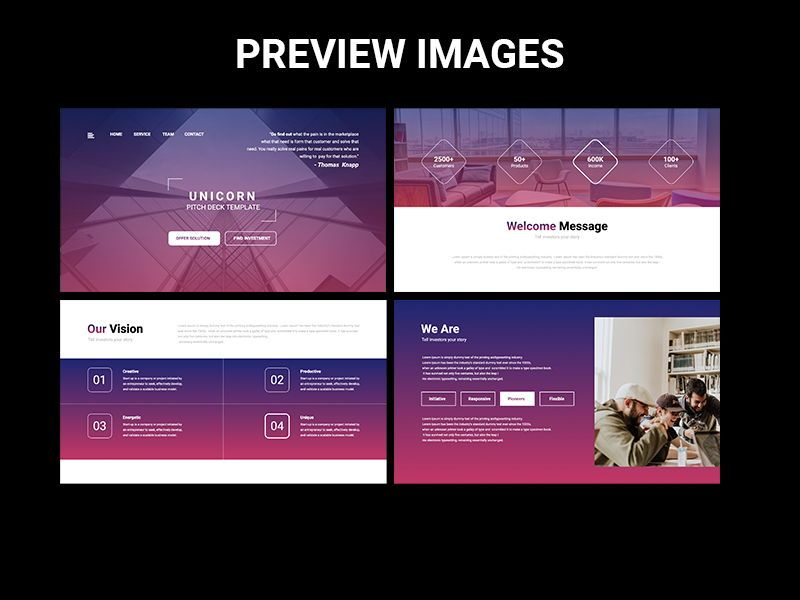 UNICORN Startup Pitch Deck Template Googleslide, Slide 2, 08245, Presentation Templates — PoweredTemplate.com