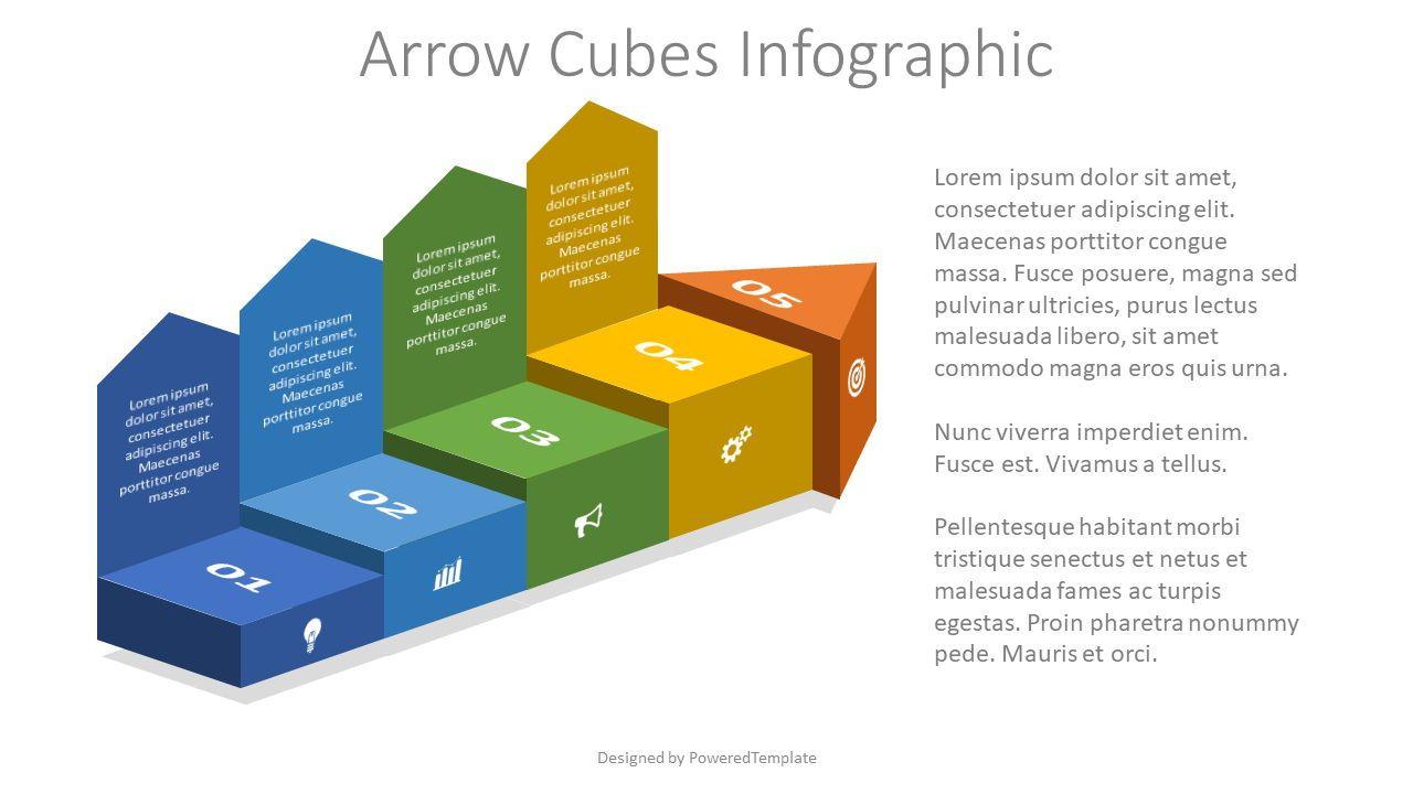 Arrow Cubes Infographic, 08248, Infographics — PoweredTemplate.com
