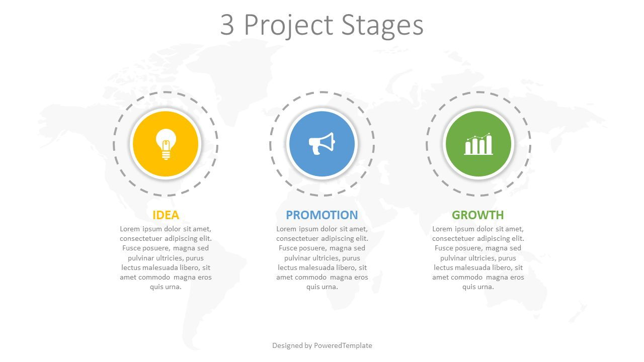 3 Project Stages Diagram, 08251, Infographics — PoweredTemplate.com
