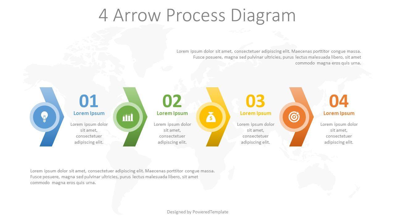 4 Arrow Process Diagram, 08252, Process Diagrams — PoweredTemplate.com