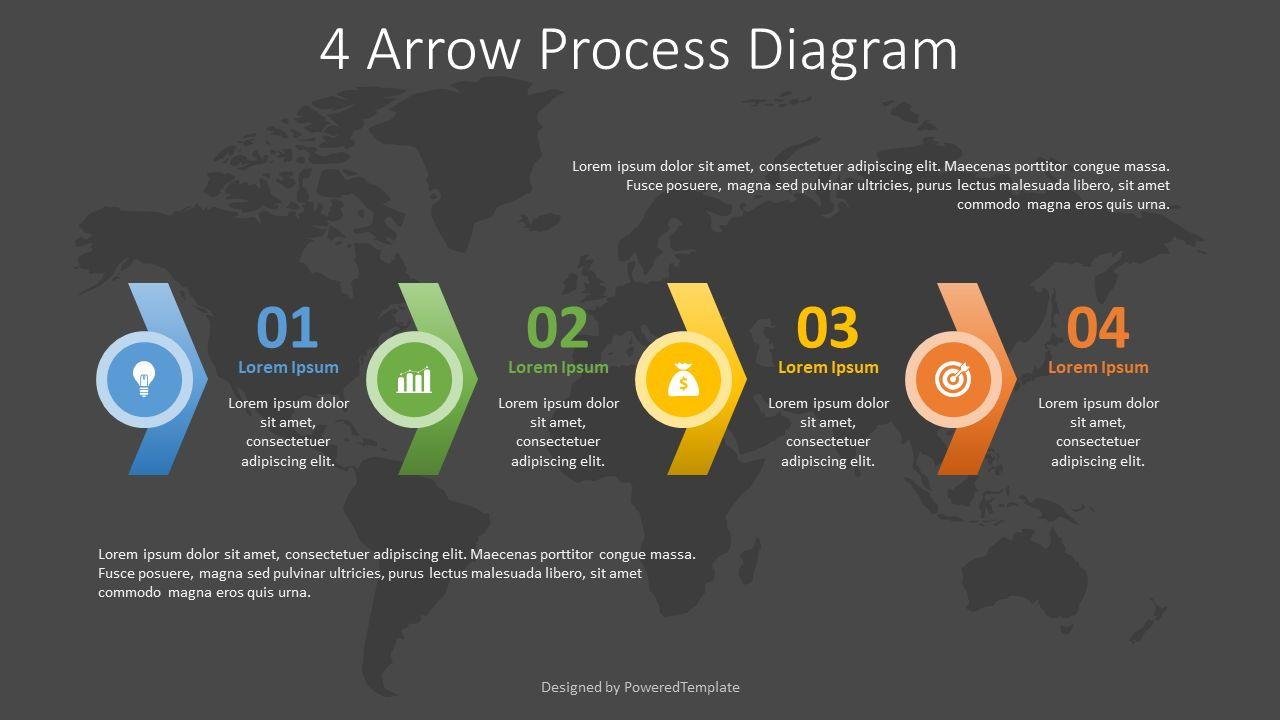 4 Arrow Process Diagram, Slide 2, 08252, Process Diagrams — PoweredTemplate.com
