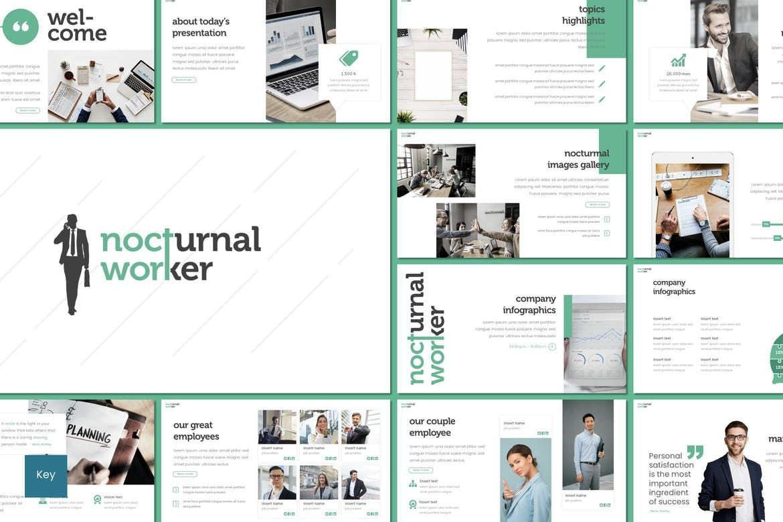 Nocturnal Worker - Keynote Template, 08254, Presentation Templates — PoweredTemplate.com