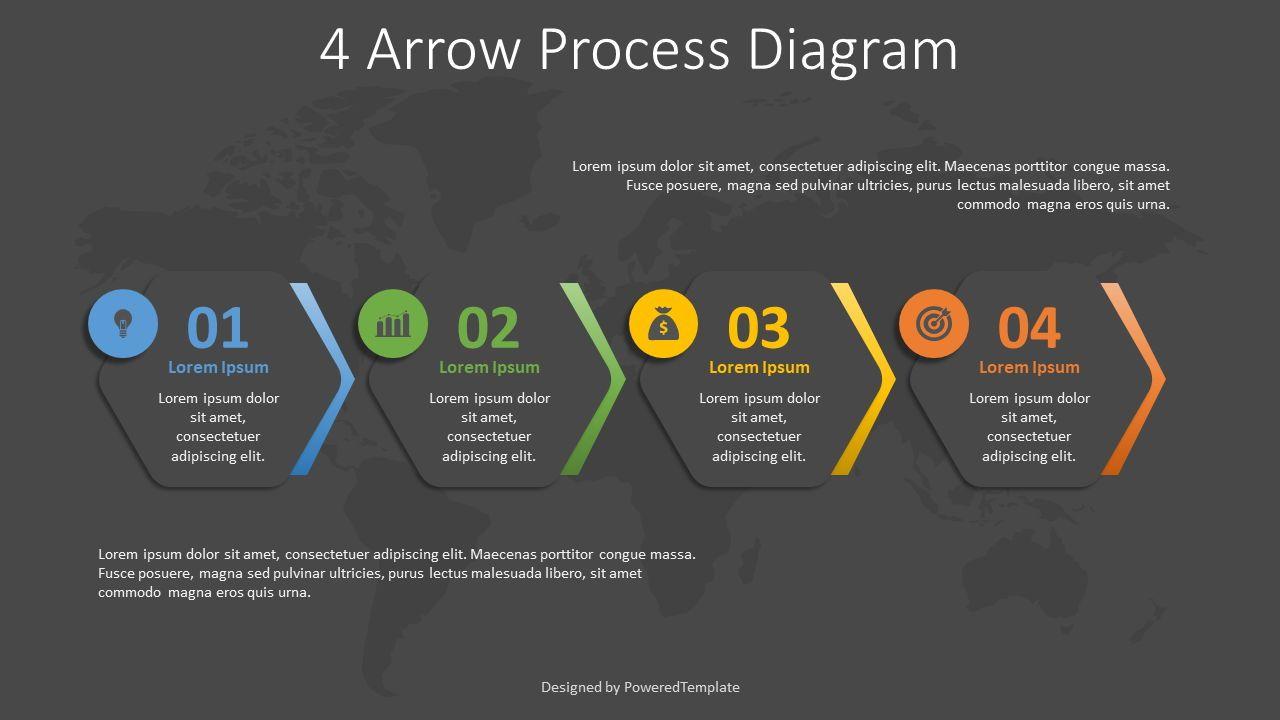 4 Arrow Process Hexagon Diagram, 08260, Infographics — PoweredTemplate.com