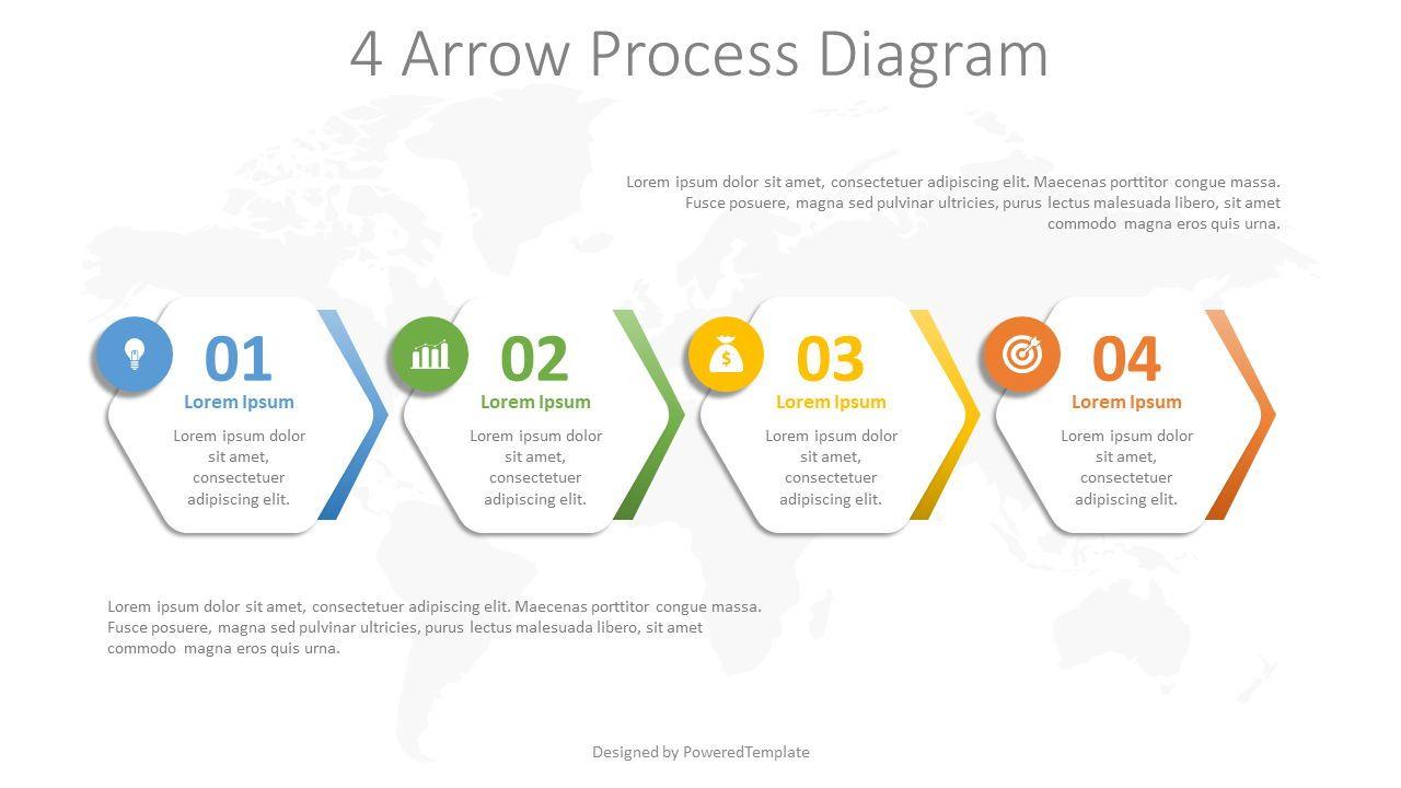 4 Arrow Process Hexagon Diagram, Slide 2, 08260, Infographics — PoweredTemplate.com