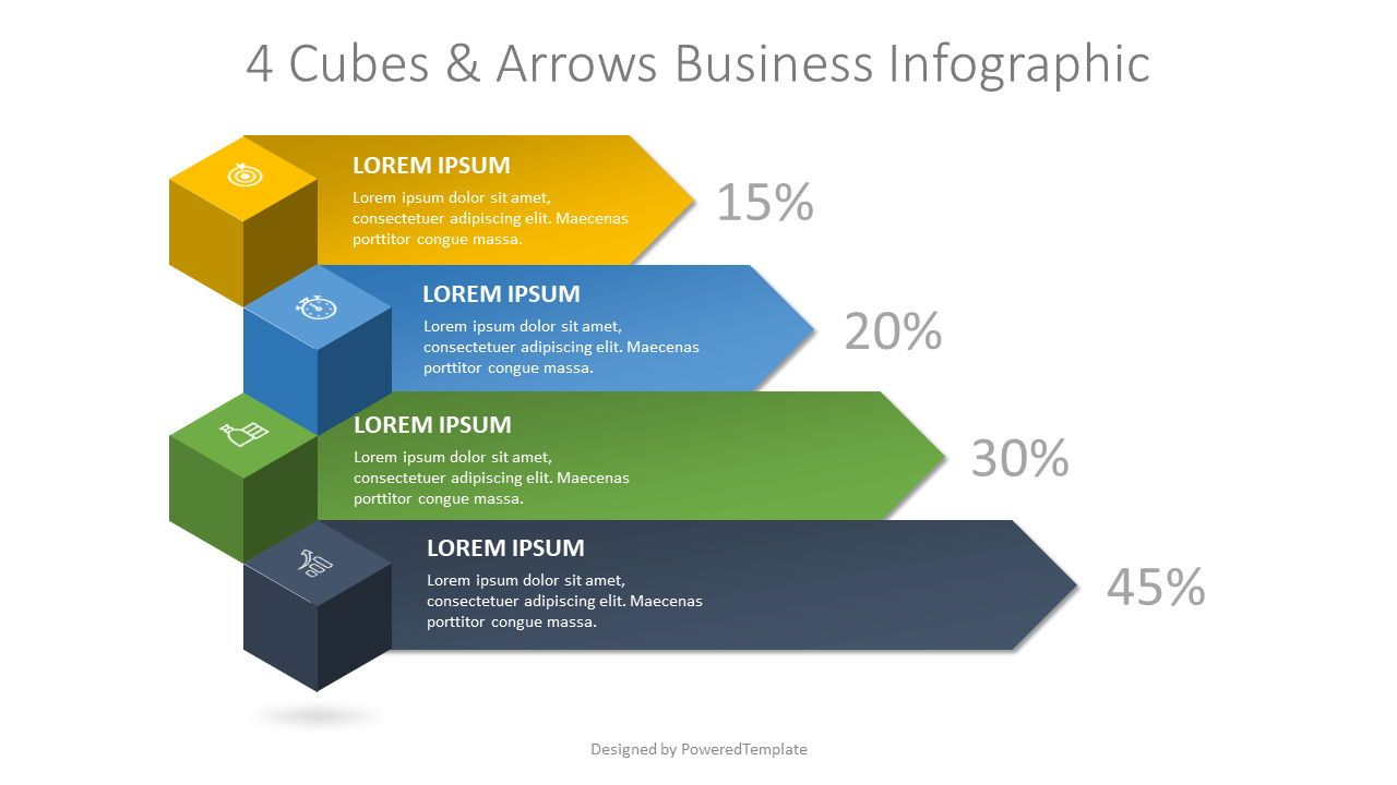 4 Cubes and Arrows Business Infographic, 08261, Infographics — PoweredTemplate.com