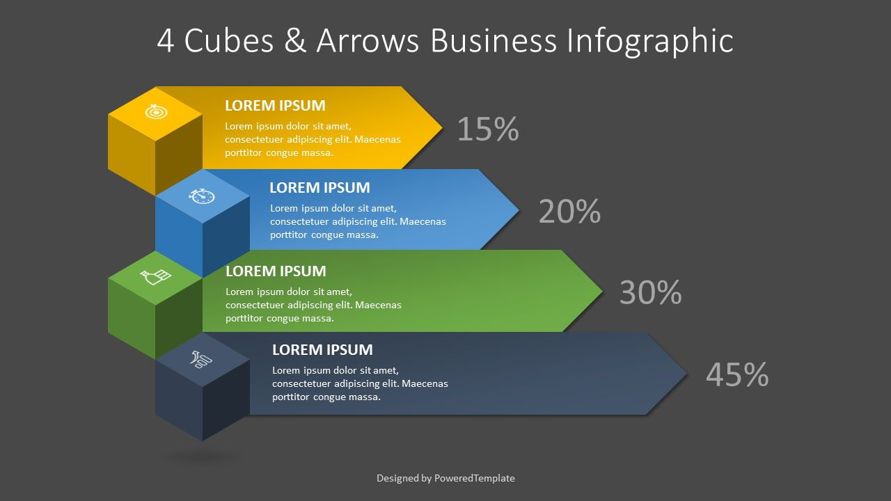 4 Cubes and Arrows Business Infographic, Slide 2, 08261, Infographics — PoweredTemplate.com