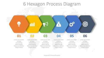 Infographics: 6 Hexagon Process Diagram #08263