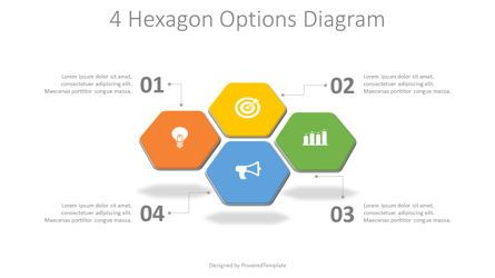 Infographics: 4 Hexagon Options Diagram #08267