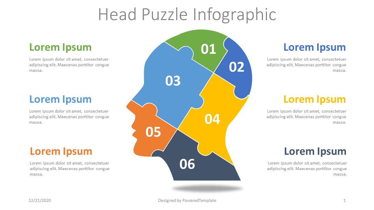 Head Puzzle Infographic, 08284, Education Charts and Diagrams — PoweredTemplate.com