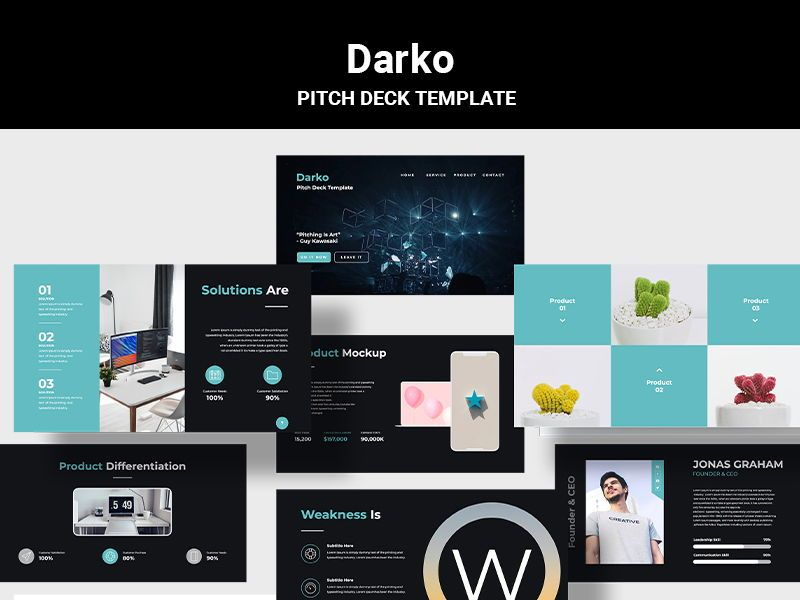 Darko Pitch Deck Template PPTX, 08287, Presentation Templates — PoweredTemplate.com