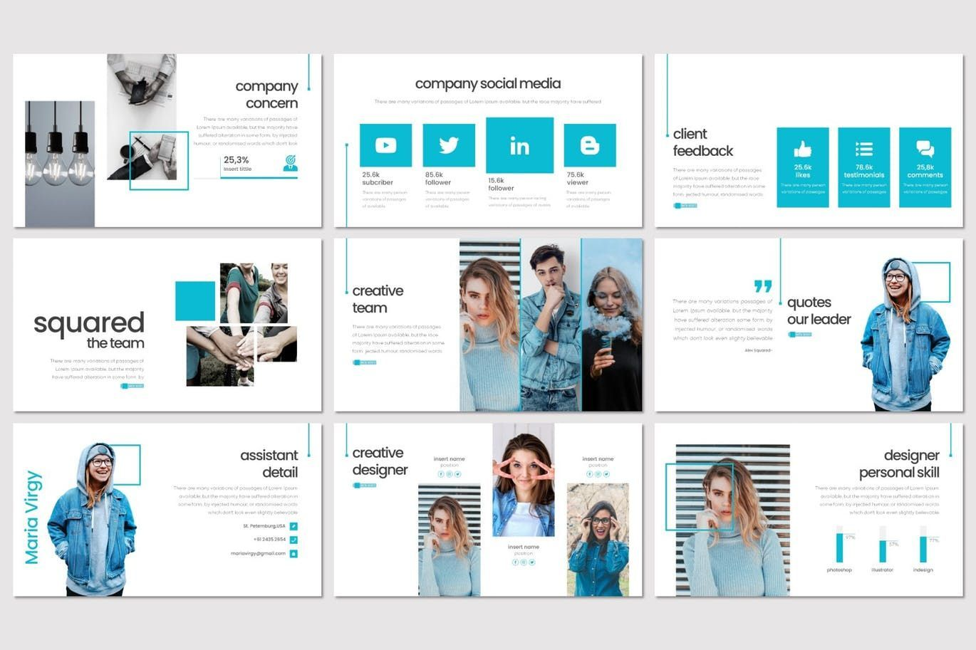 Squared - PowerPoint Template, Slide 3, 08291, Presentation Templates — PoweredTemplate.com