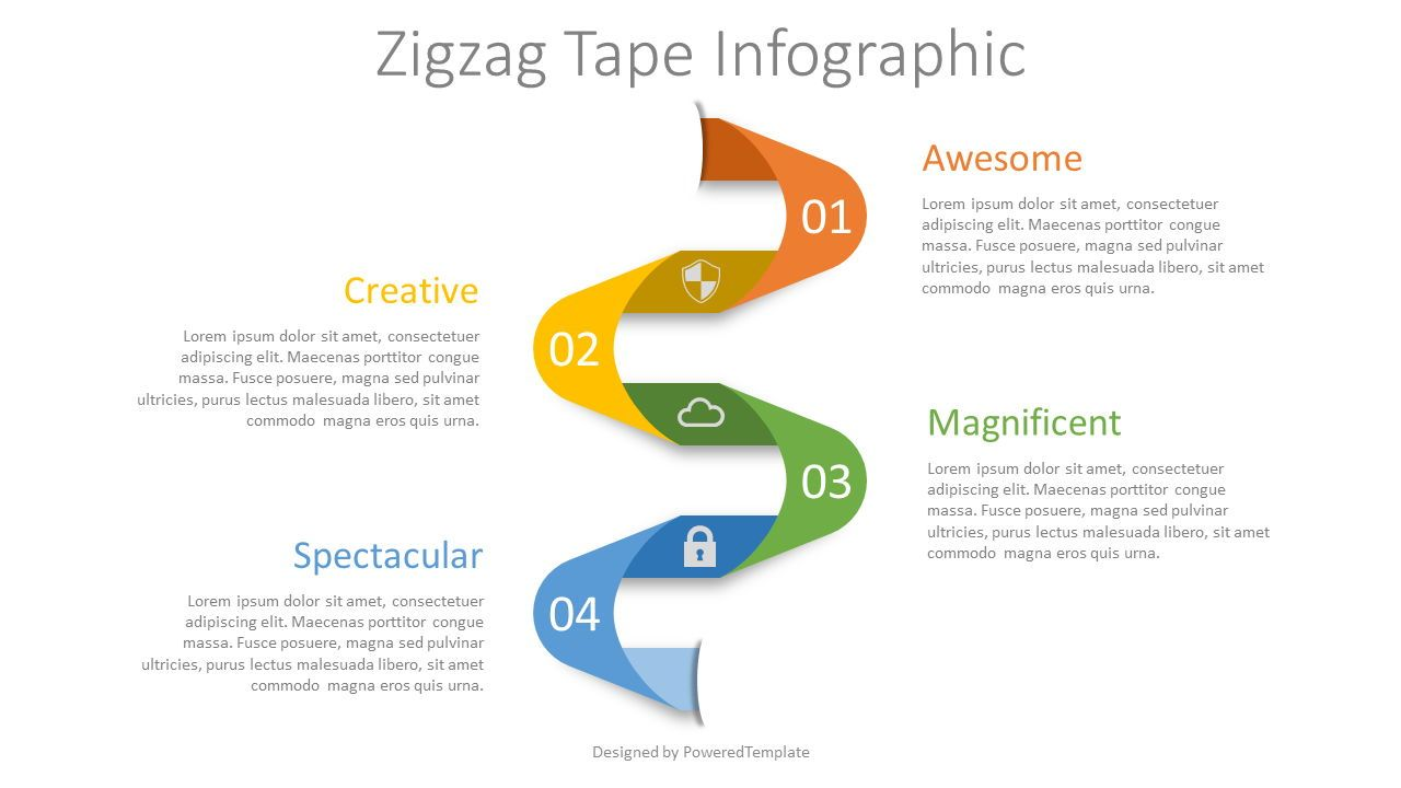 Zigzag Tape Infographic, 08299, Process Diagrams — PoweredTemplate.com