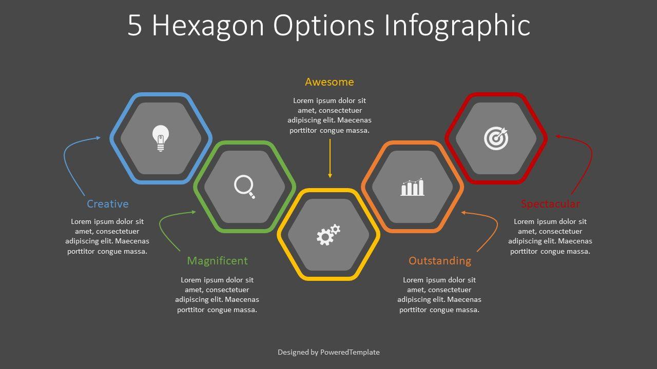 5 Colored Hexagon Options, Slide 2, 08301, Infographics — PoweredTemplate.com