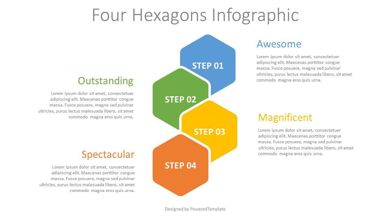 Four Hexagons Infographic, 08310, Infographics — PoweredTemplate.com