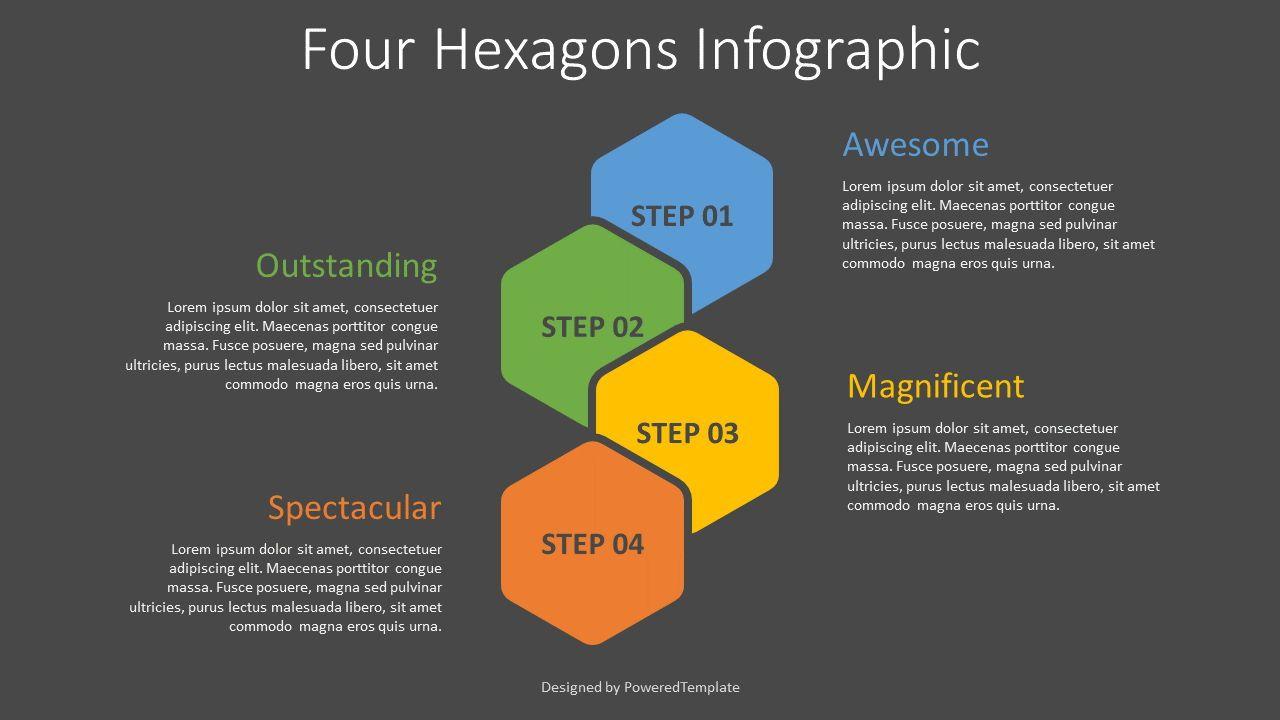Four Hexagons Infographic, Slide 2, 08310, Infographics — PoweredTemplate.com