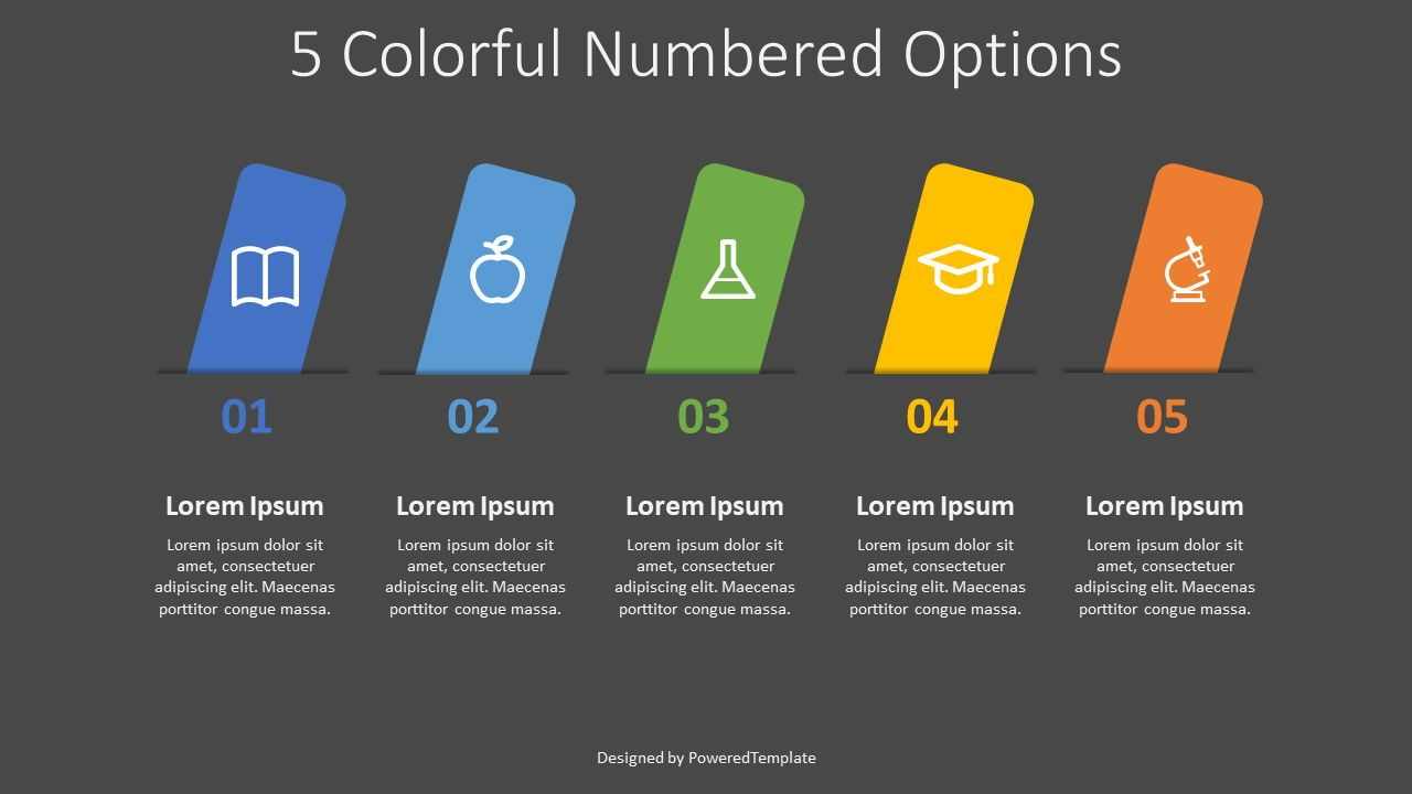 5 Colorful Numbered Options, 08312, Infographics — PoweredTemplate.com