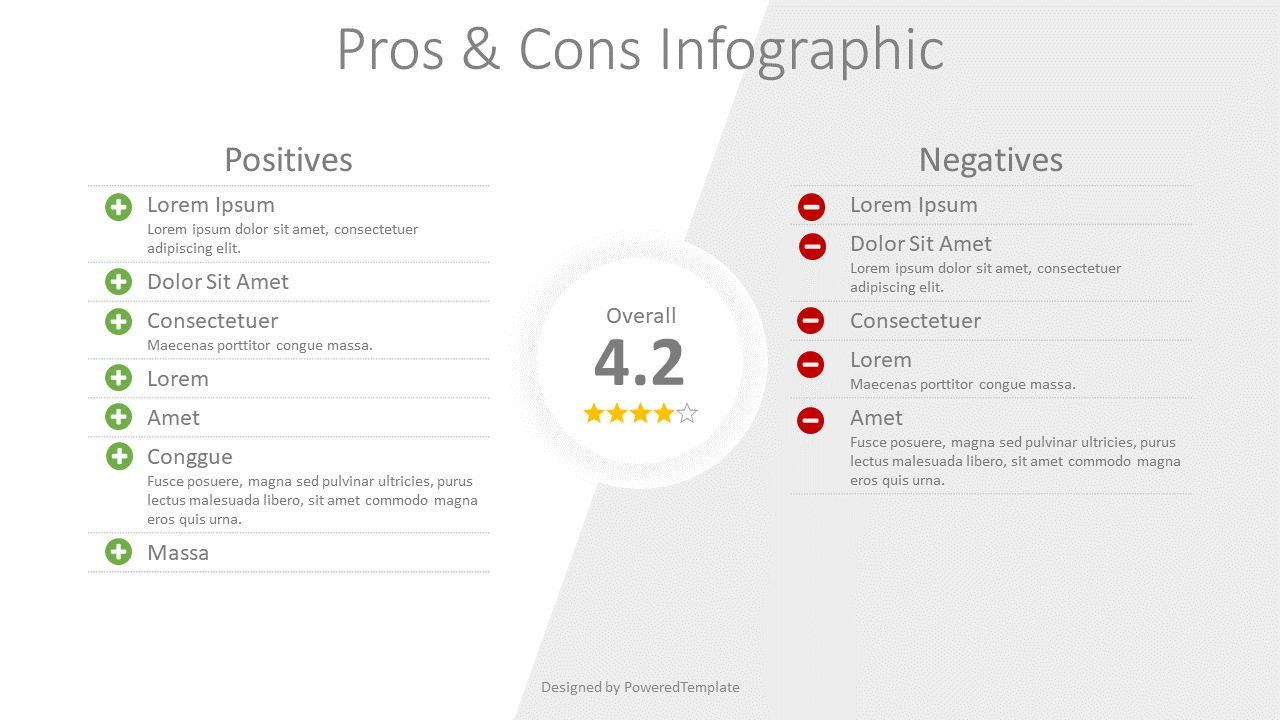 Pros and Cons Comparison, Slide 2, 08316, Business Models — PoweredTemplate.com