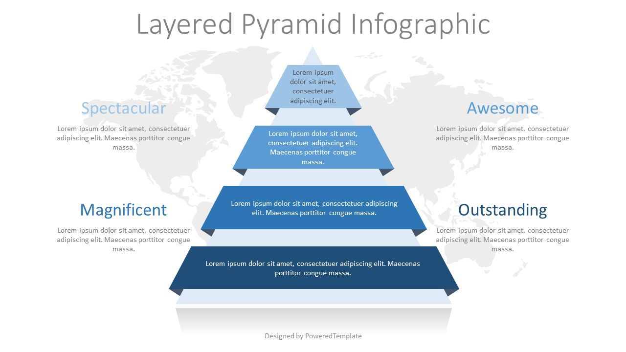 Pyramid with Ribbon Layers Infographic, 08322, Infographics — PoweredTemplate.com