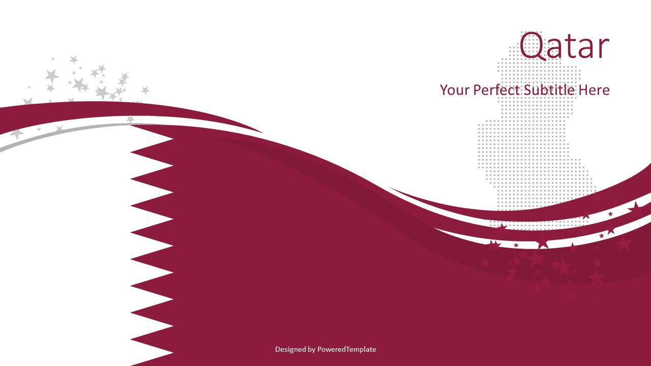 Qatar State Flag Theme, 08323, Presentation Templates — PoweredTemplate.com