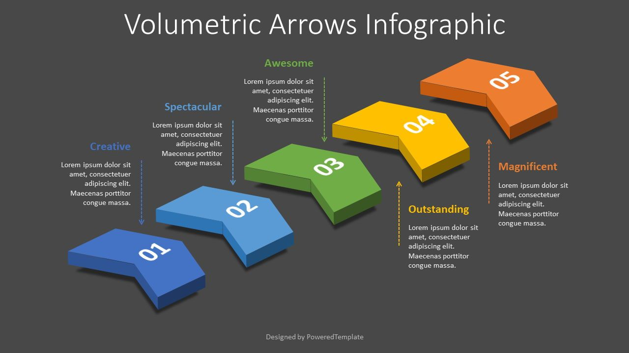 5 Volumetric Chevron Diagram, 08326, Infographics — PoweredTemplate.com