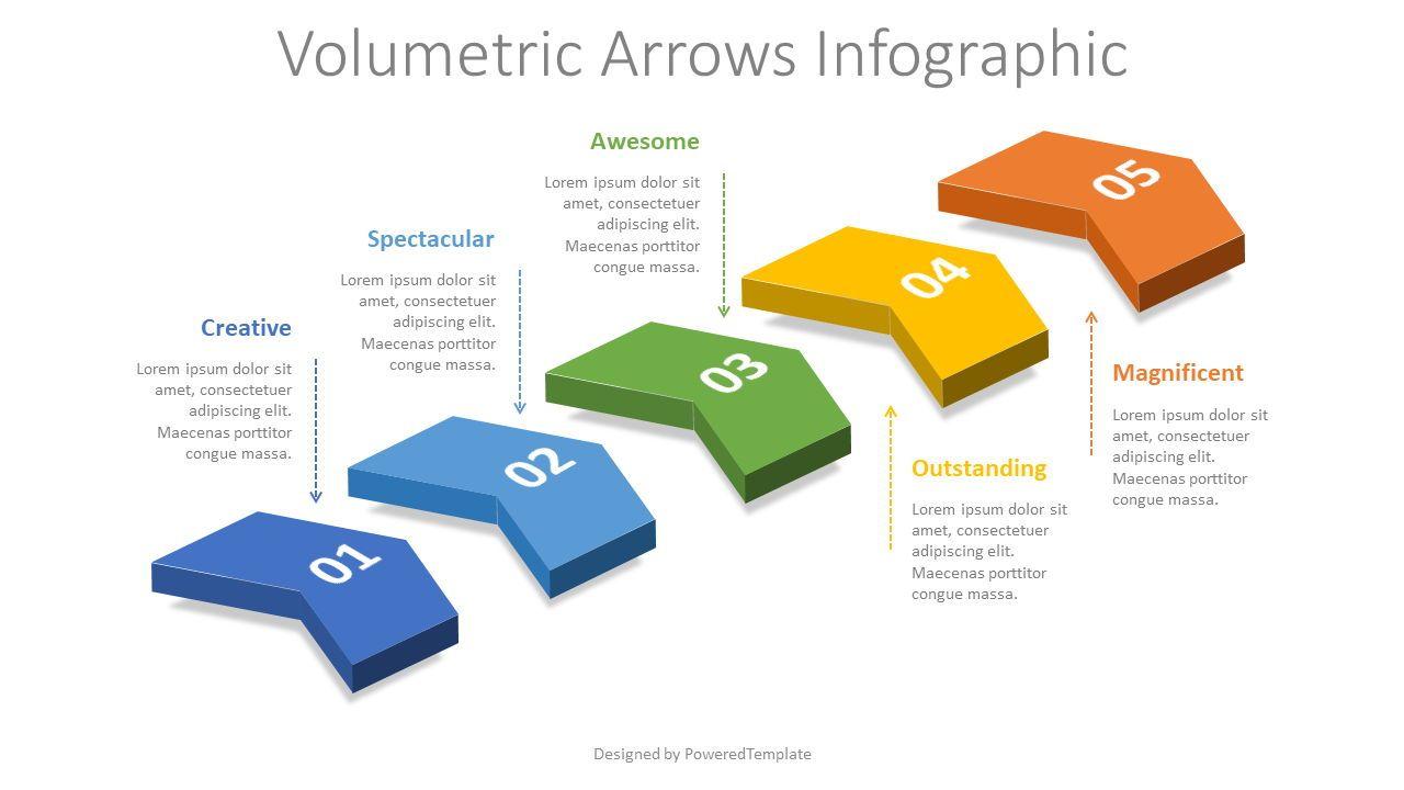 5 Volumetric Chevron Diagram, Slide 2, 08326, Infographics — PoweredTemplate.com