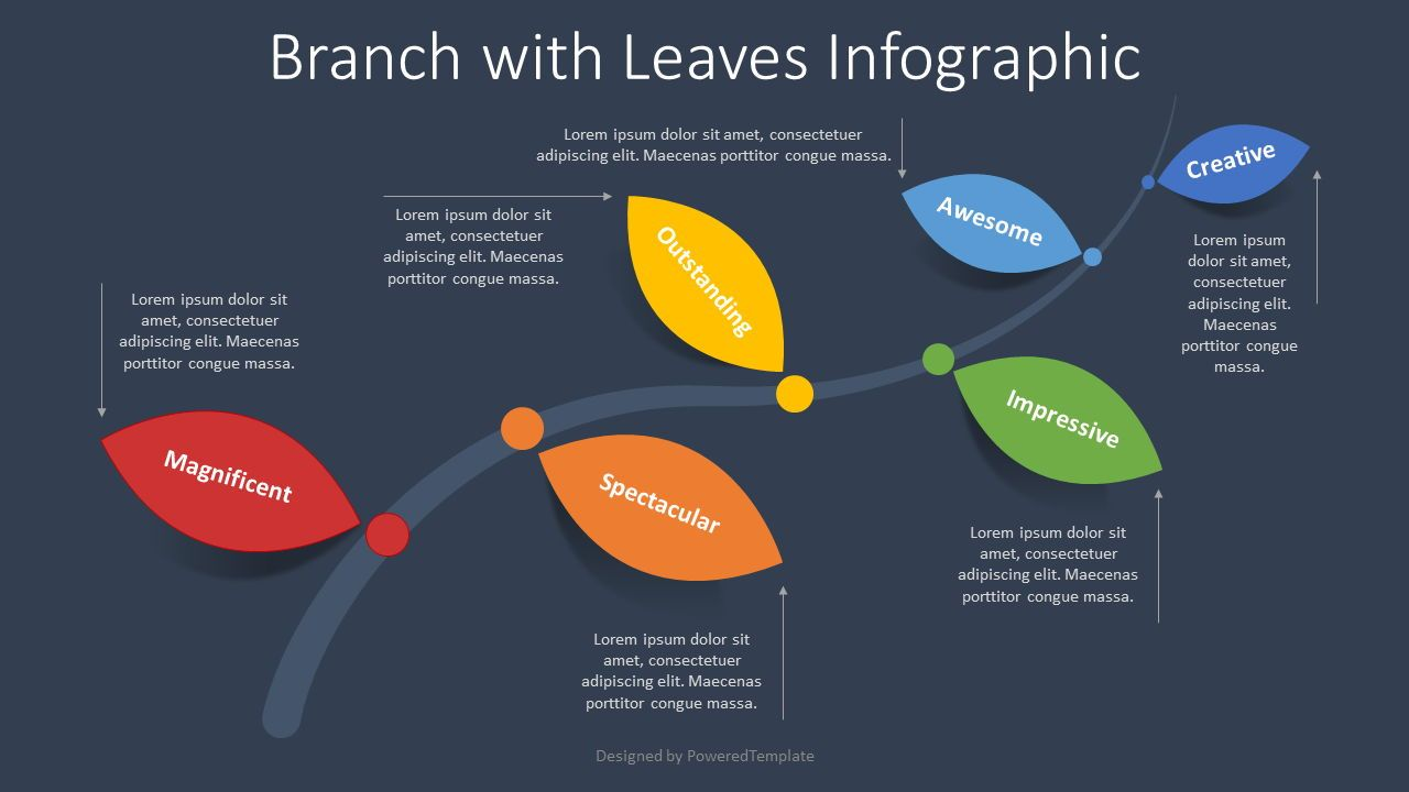 Branch with Leaves Infographic, 08329, Infographics — PoweredTemplate.com