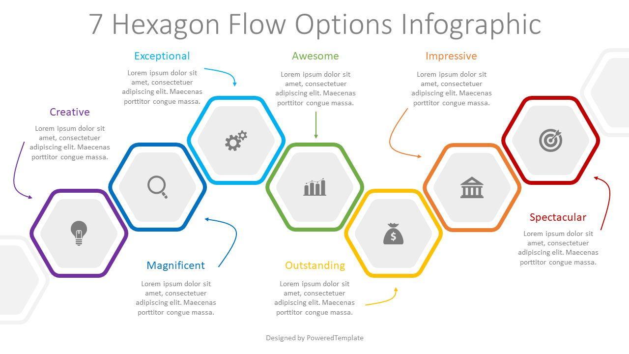 7 Hexagon Flow Options Infographic, 08331, Infographics — PoweredTemplate.com