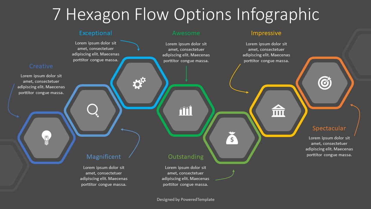 7 Hexagon Flow Options Infographic, Slide 2, 08331, Infographics — PoweredTemplate.com