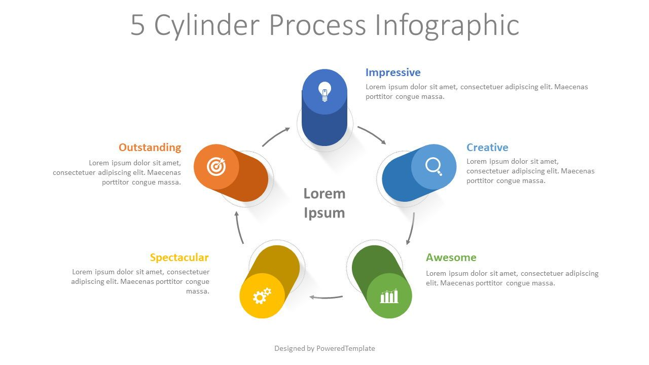 5 Cylinder Process Infographic, 08333, Infographics — PoweredTemplate.com