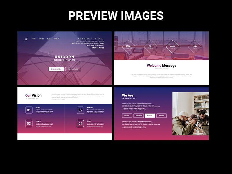 UNICORN Startup Pitch Deck Template PPTX, Slide 2, 08334, Presentation Templates — PoweredTemplate.com